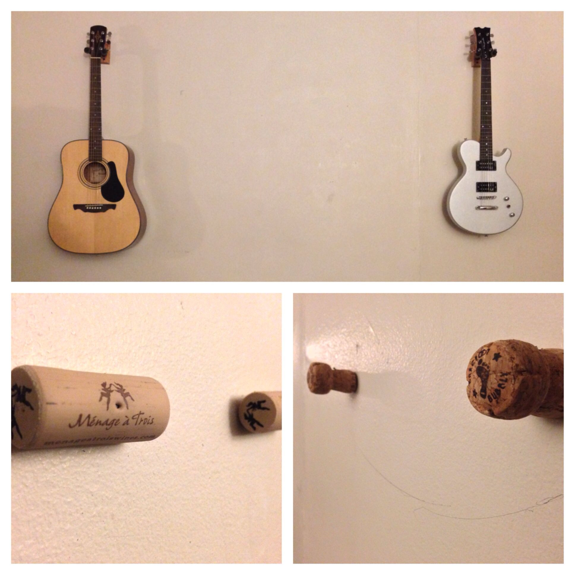 Diy guitar hanger protection nailed two corks to wall to