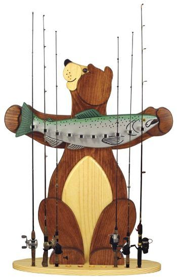 19 w3006 bear fishing rod holder woodworking plan for Wooden fishing pole holder