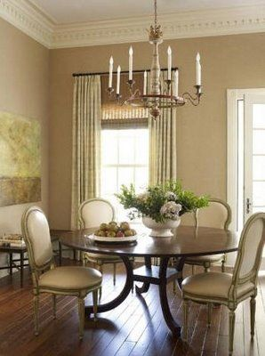 beautiful round table (at vignette in brentwood) with painted
