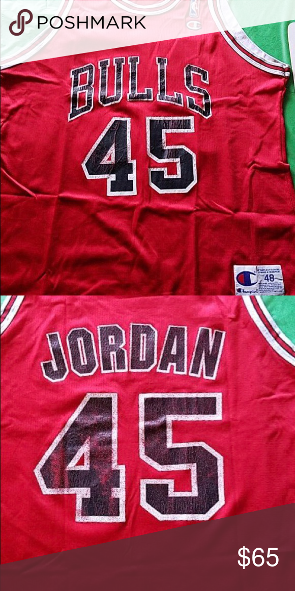 wholesale dealer 7aa74 7260f Michael Jordan 45 Bulls Champion Jersey Size 48 Michael ...