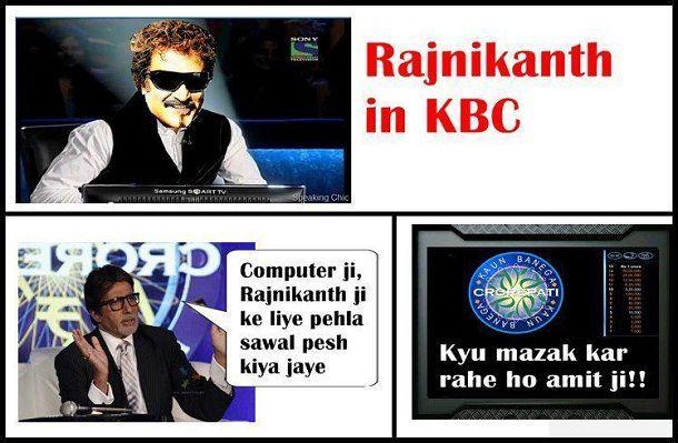 Bollywood Superstar Rajinikanth In KBC | Cool portraits | Jokes