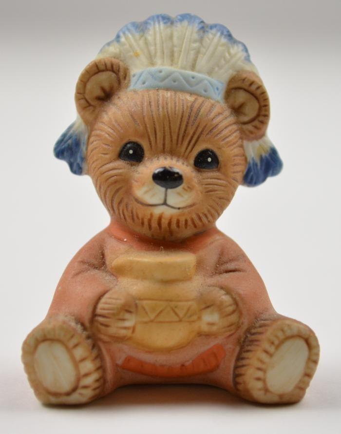 homco bear figurines homco bear dressed like an indian ceramic