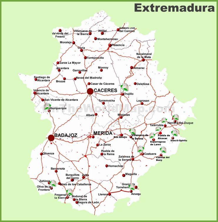 Extremadura Road Map Karten