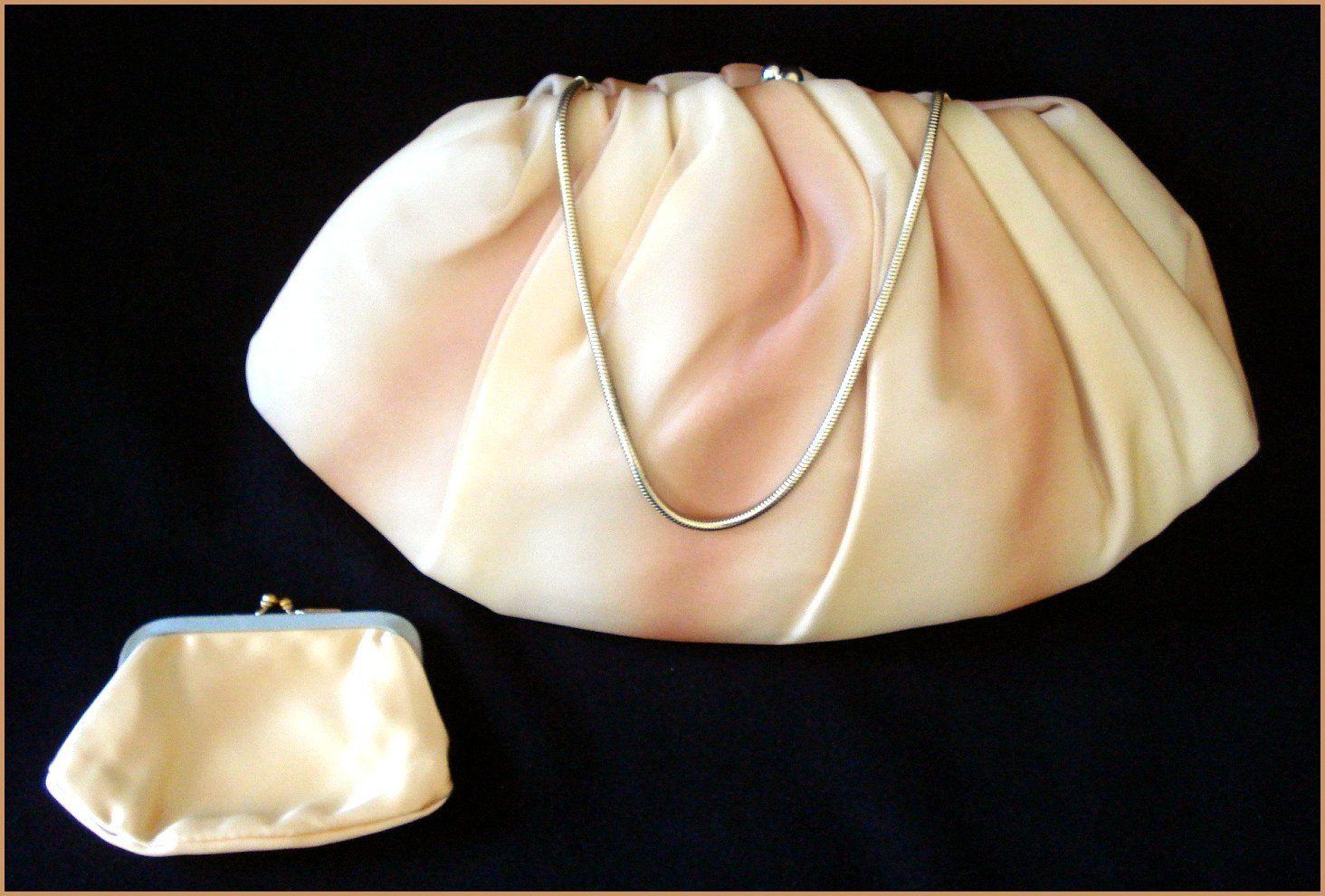 Pastel Orange Purse Clutch Handbag -  by Harry Levine Designer - Excellent Vintage Condition