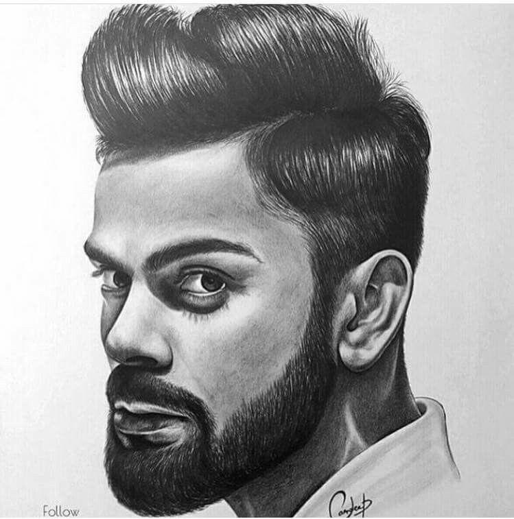 Virat Koholi Pencil Sketch Portrait Celebrity