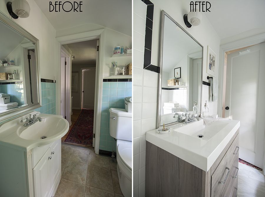 Painted Bathroom Wall Tile Small Bathroom Before After