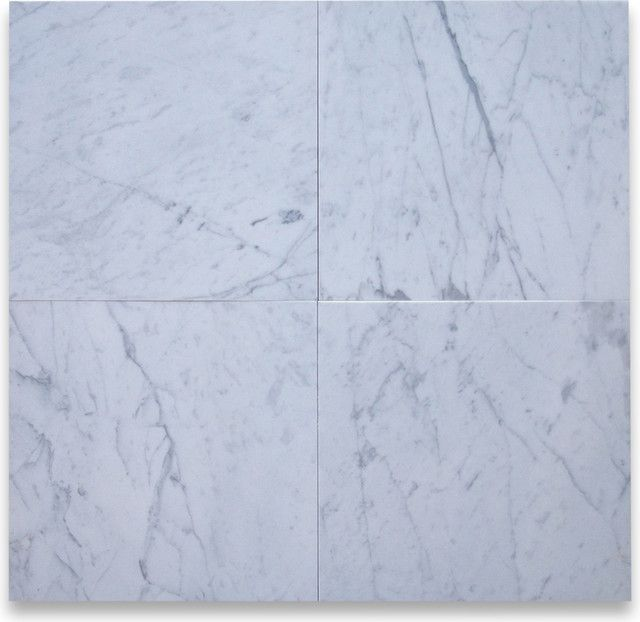 Foyer Floor Tile  White Cararra Marble, 12x12 Set On Diagonal Checkerboard  Pattern