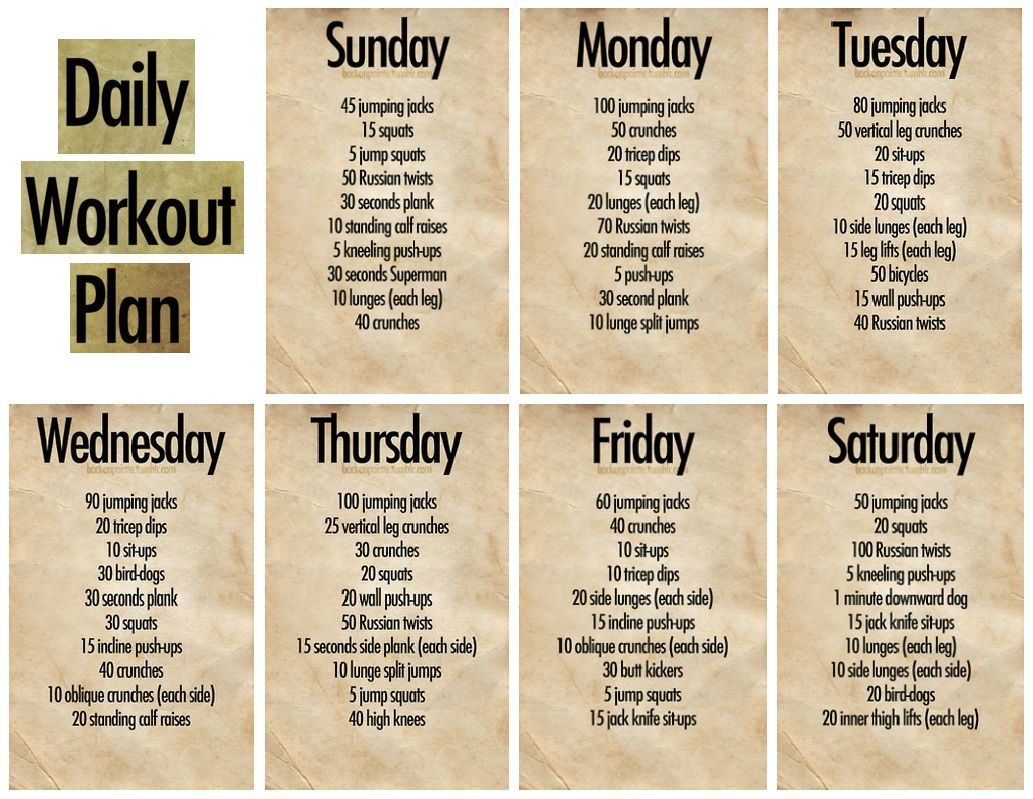 daily workout plan workouts pinterest workout fitness and