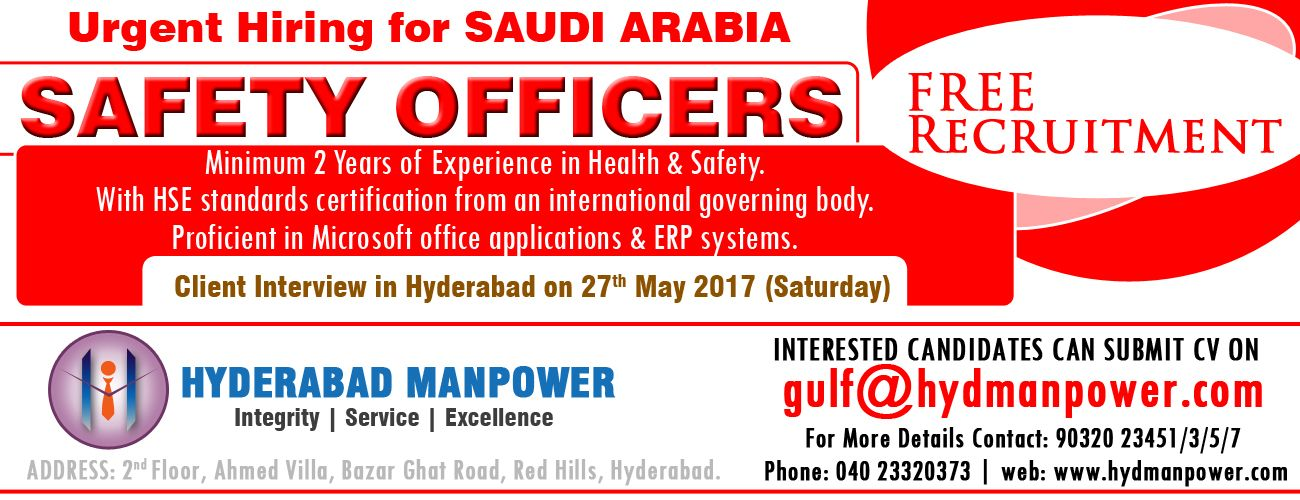 Hiring Safety Officers for SAUDI ARABIA Health and