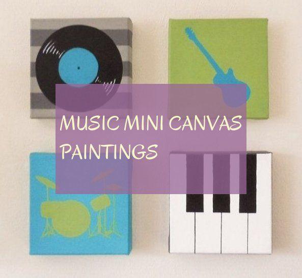 Music mini canvas paintings