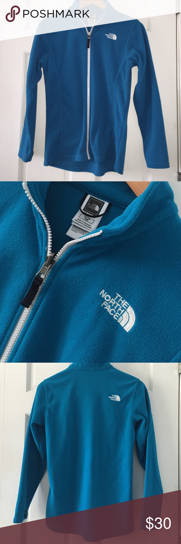 North face girls zip up fleece 18 Easy care 100% polyester - zip up front and snaps at sleeve for gloves. Pre owned in good condition no stains or flaws. North Face Jackets & Coats