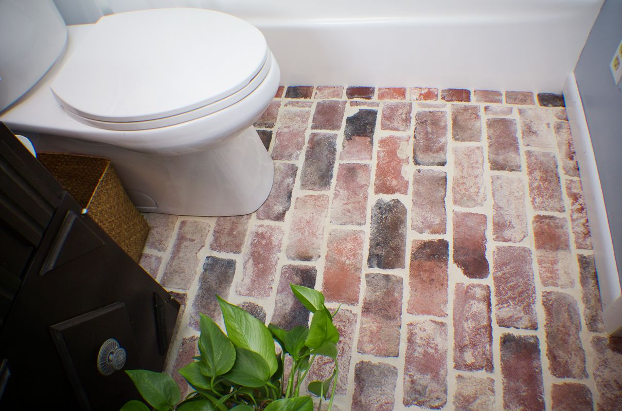 Faux brick and other veneers turn ugly and boring walls into faux brick veneer for bathroom decoration i would love my bathroom floor to be like this dailygadgetfo Images
