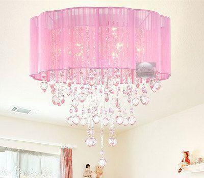Pink Drum Shade Crystal Ceiling Chandelier Pendant Light