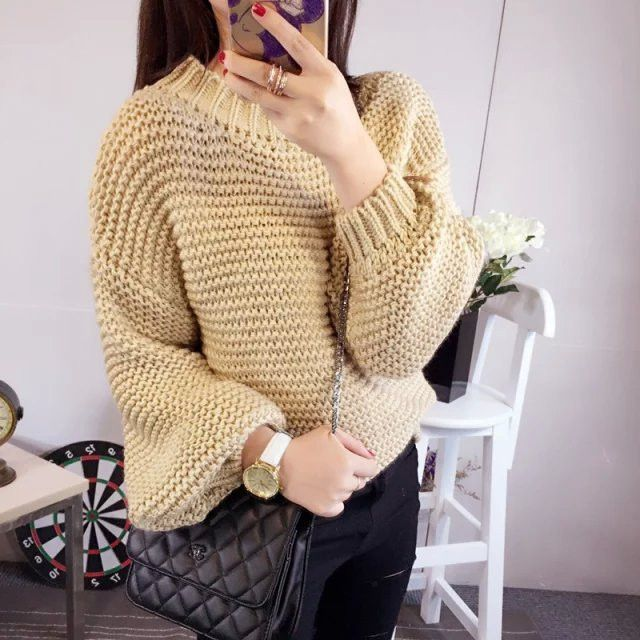 Solid Thick Crochet Pullover Loose Short Sweater  c1c59fb54