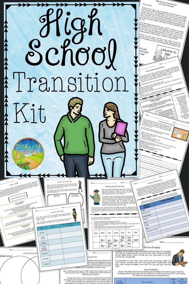 Workbooks transition worksheets for middle school : High School Transition Kit | High school, Students and School