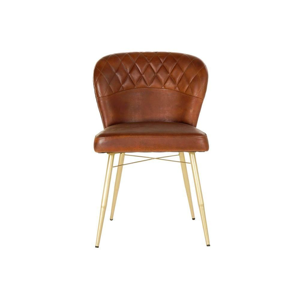Dining Chair DKD Home Decor Leather Iron Camel (53 x 57 x 80 cm)