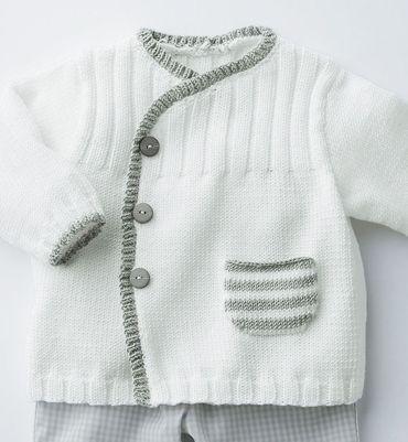 Gilet layette blanc Phildar | Tejidos para niñas, Bebé y Bebe