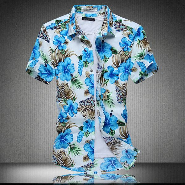 Summer Shirt Floral Shirts Tee Mens Short Sleeve Fashion Men/'s Dress Casual Tops