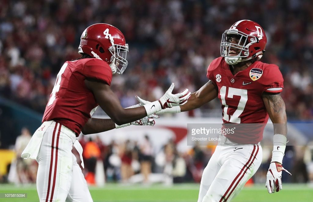 Jerry Jeudy And Jaylen Waddle Of The Alabama Crimson Tide Celebrate Alabama Crimson Tide Crimson Tide Alabama Crimson Tide Football