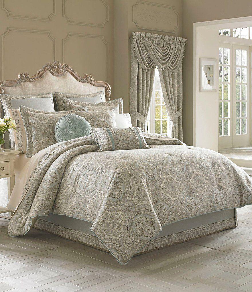 J Queen New York Colette Damask Comforter Set Damasks - Blue and brown damask comforter