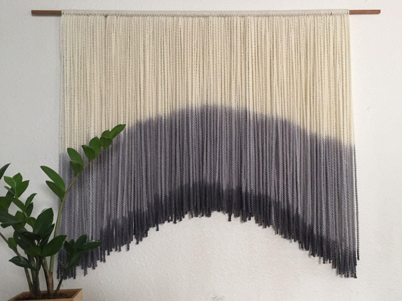 Gray Modern Bohemian Yarn Wall Hanging Modern Wall Art Yarn Wall Hanging Bohemian Yarn Modern Bohemian