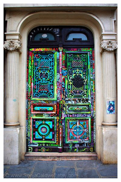Art Door - Paris Door Photography street art  old door France fluorescent colors or Original Fine Art Photograph : street doors images - pezcame.com