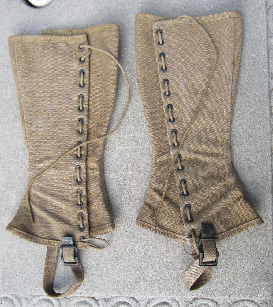 Vintage Wwi Military Leggings Gaiters Canvas World War 1