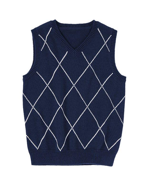 ba1974d555 Gym Navy Windowpane Plaid Sweater Vest Boys 3-12 years
