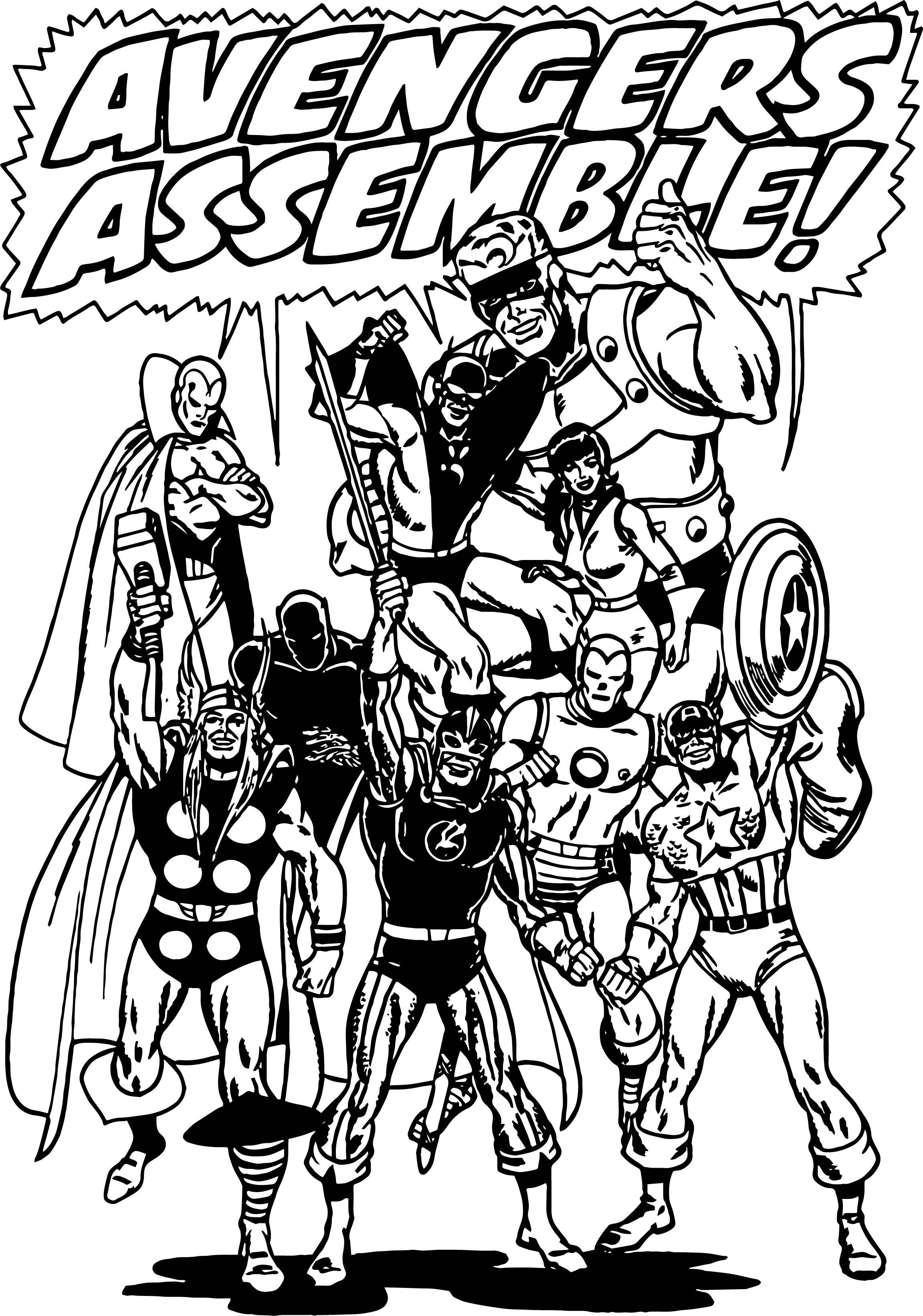 awesome Avengers Assemble Coloring Page  Avengers coloring pages, Avengers coloring, Coloring pages
