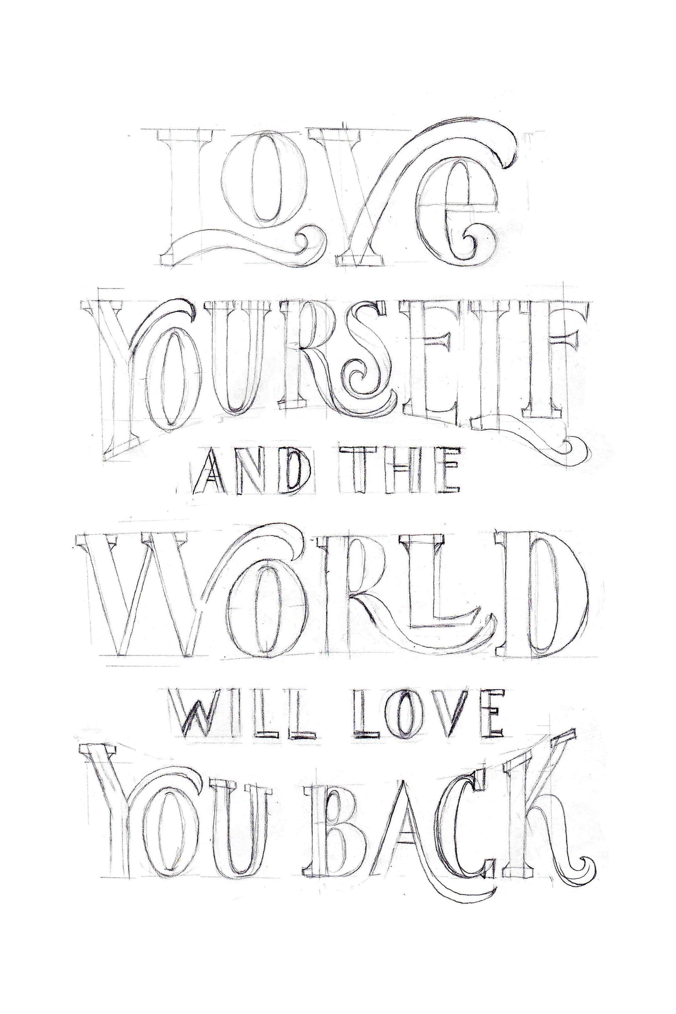 Love Yourself Hand Lettered Poster Lettering Lettering