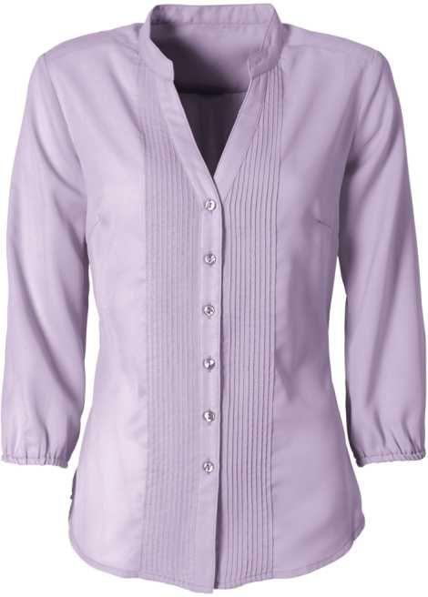 517d88fae4 Veja agora Camisa no modelo gola de padre mangas 3 4 com elástico e  nervuras ao longo da aba de botões. Tecido levemente transparente. Com calça  social é ...