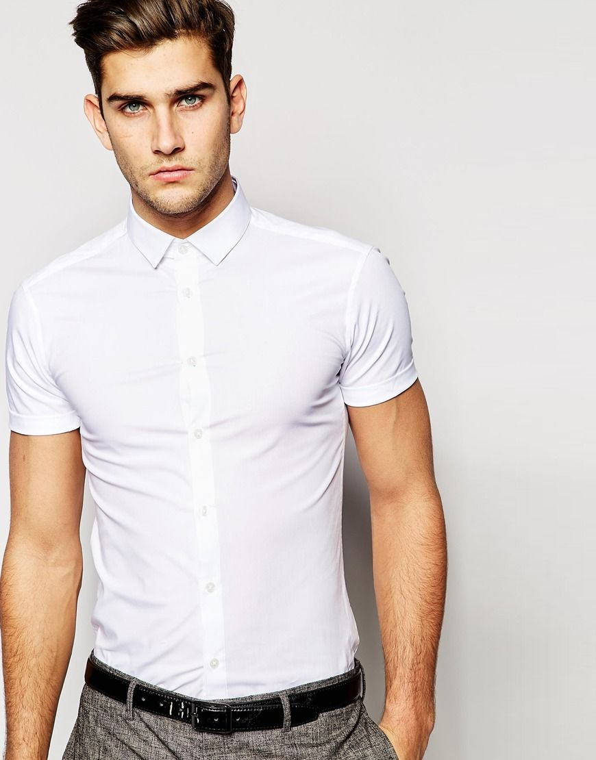 ASOS Skinny Fit Shirt In White With Short Sleeves | Clothes ...