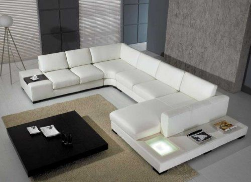 Divani In Pelle Bianca Moderni.Amazon Com T35 White Leather Sectional With Light Kitchen