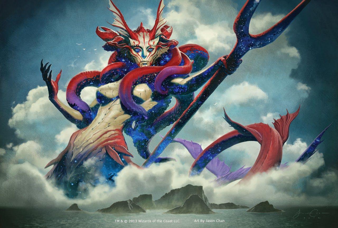 English MTG Theros Thassa 1x God of the Sea NM