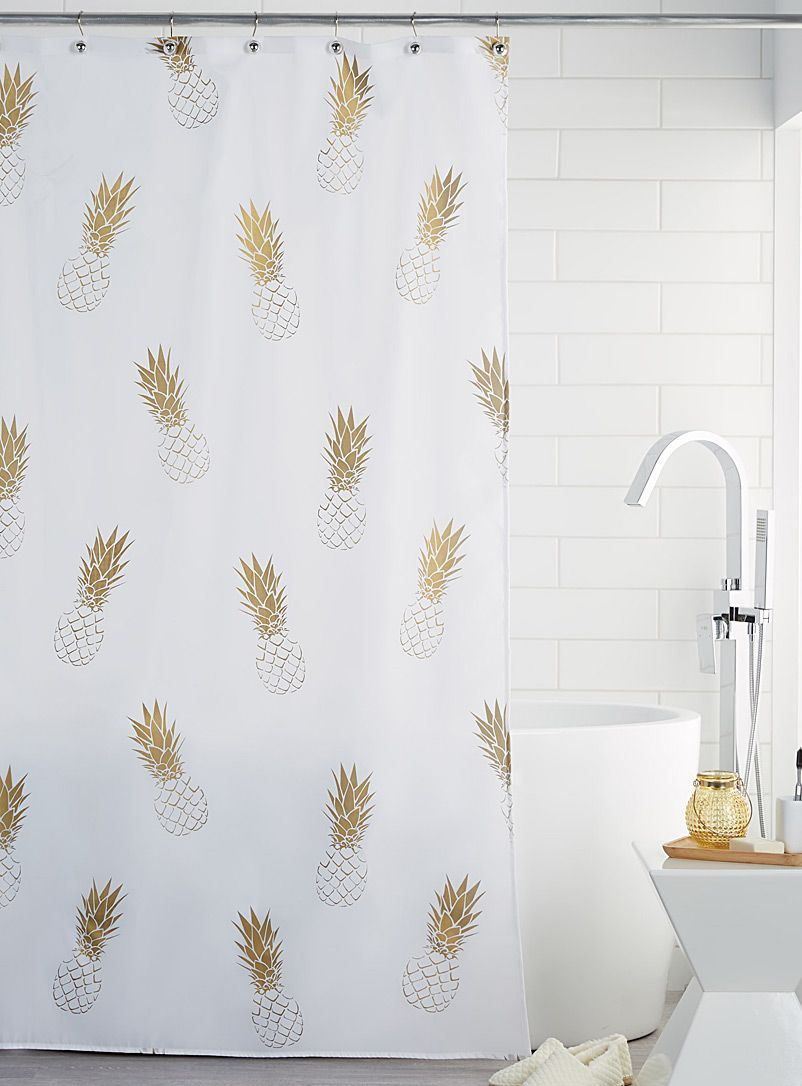Golden Pineapple Shower Curtain Pineapple Shower Curtain