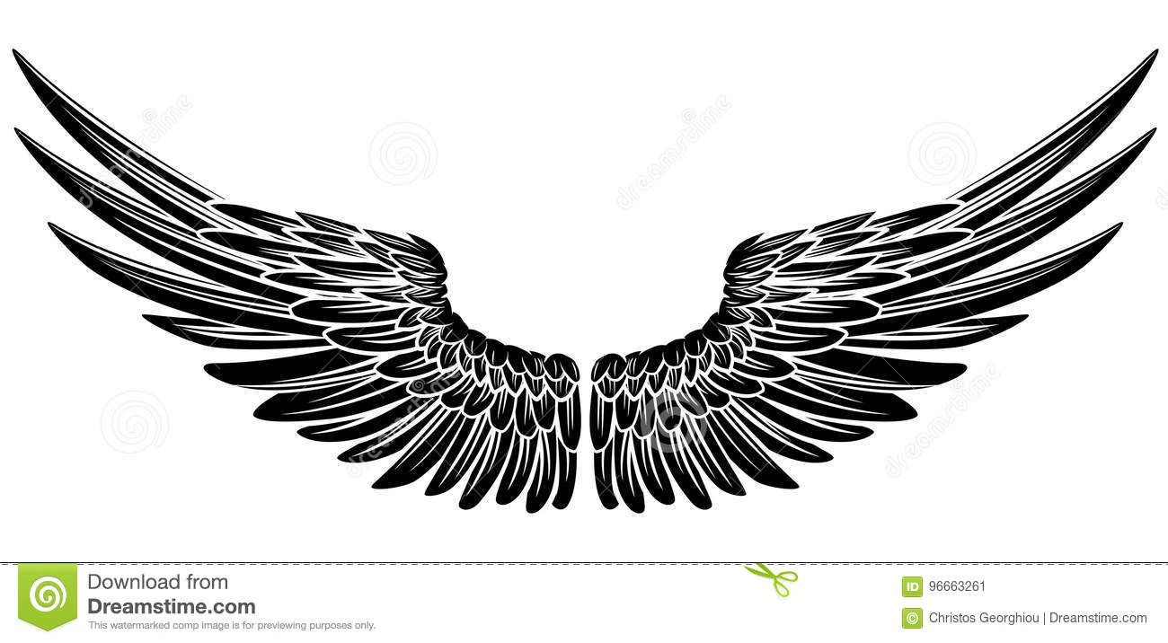 Download Eagle Bird Or Angel Wings Stock Vector Illustration Of Fairy 96663261 Eagle Wing Tattoos Wing Neck Tattoo Wings Tattoo