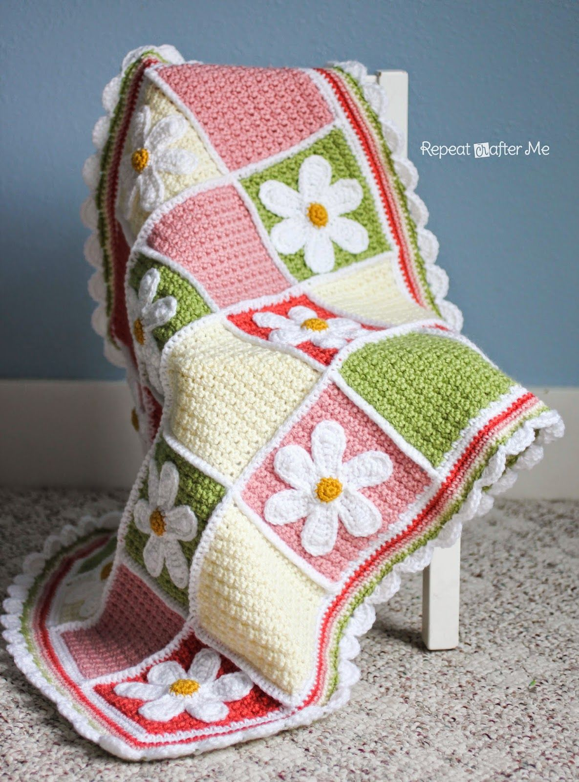 Crochet Daisy Afghan ~ free pattern I love this one!! | gorros ...