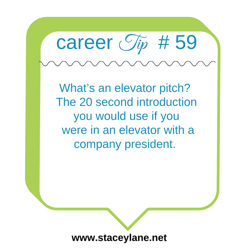 Career Tip 59 What S An Elevator Pitch The 20 Second Introduction You Would Use If You Were In An Elev Career Coach Career Search Resume Objective Statement