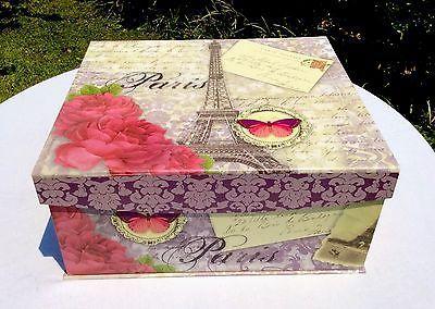 Paris Rose Decorative Keepsake Storage Box Eiffel Tower Extra