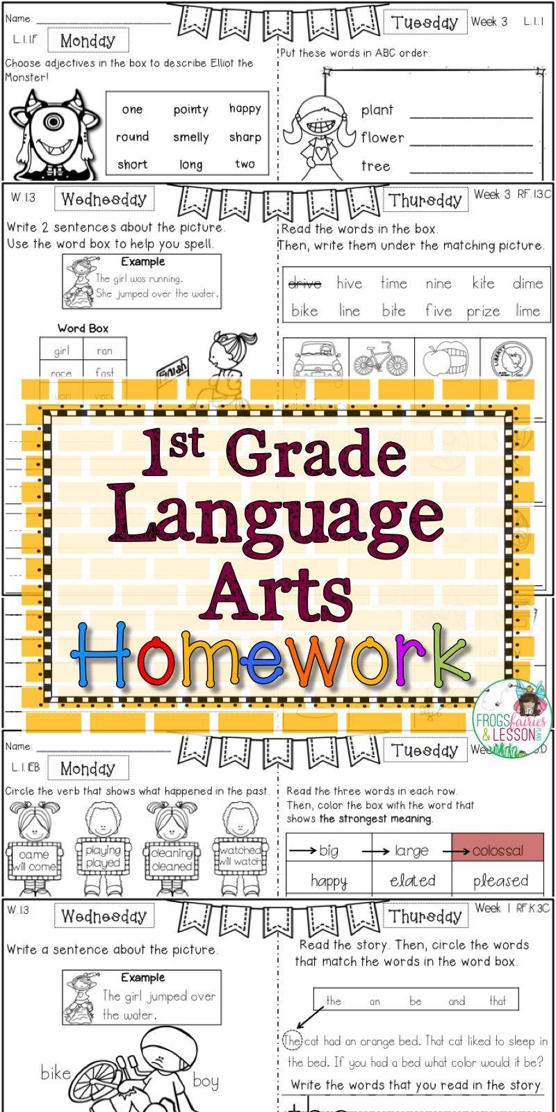 First Grade Language Arts Homework Bundle | Language arts ...