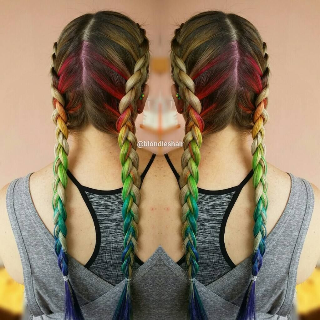 Rainbow braids To book an appointment contact