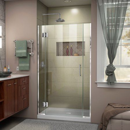 Dreamline Unidoor X 41 41 1 2 In W X 72 In H Frameless Hinged Shower Door In Chrome Shower Doors Frameless Shower Doors Tub Shower Doors