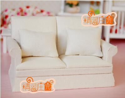 1//12 Dollhouse Furniture Sofa with Cushions Set Living Room Accessory White