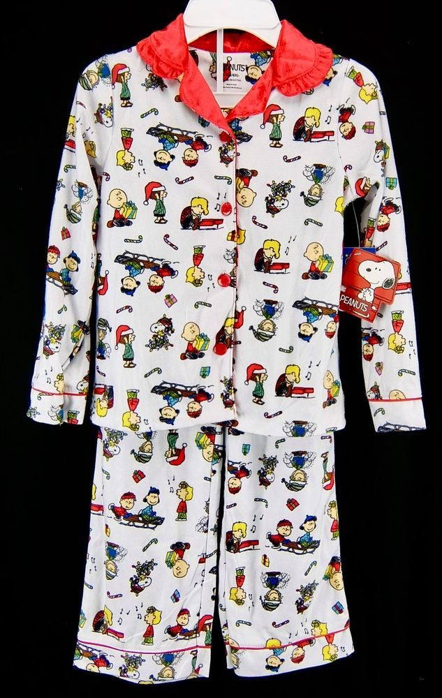 girls peanuts gang charlie brown snoopy christmas pajama set size s 66x m 78 peanuts pajamaset - Snoopy Christmas Pajamas