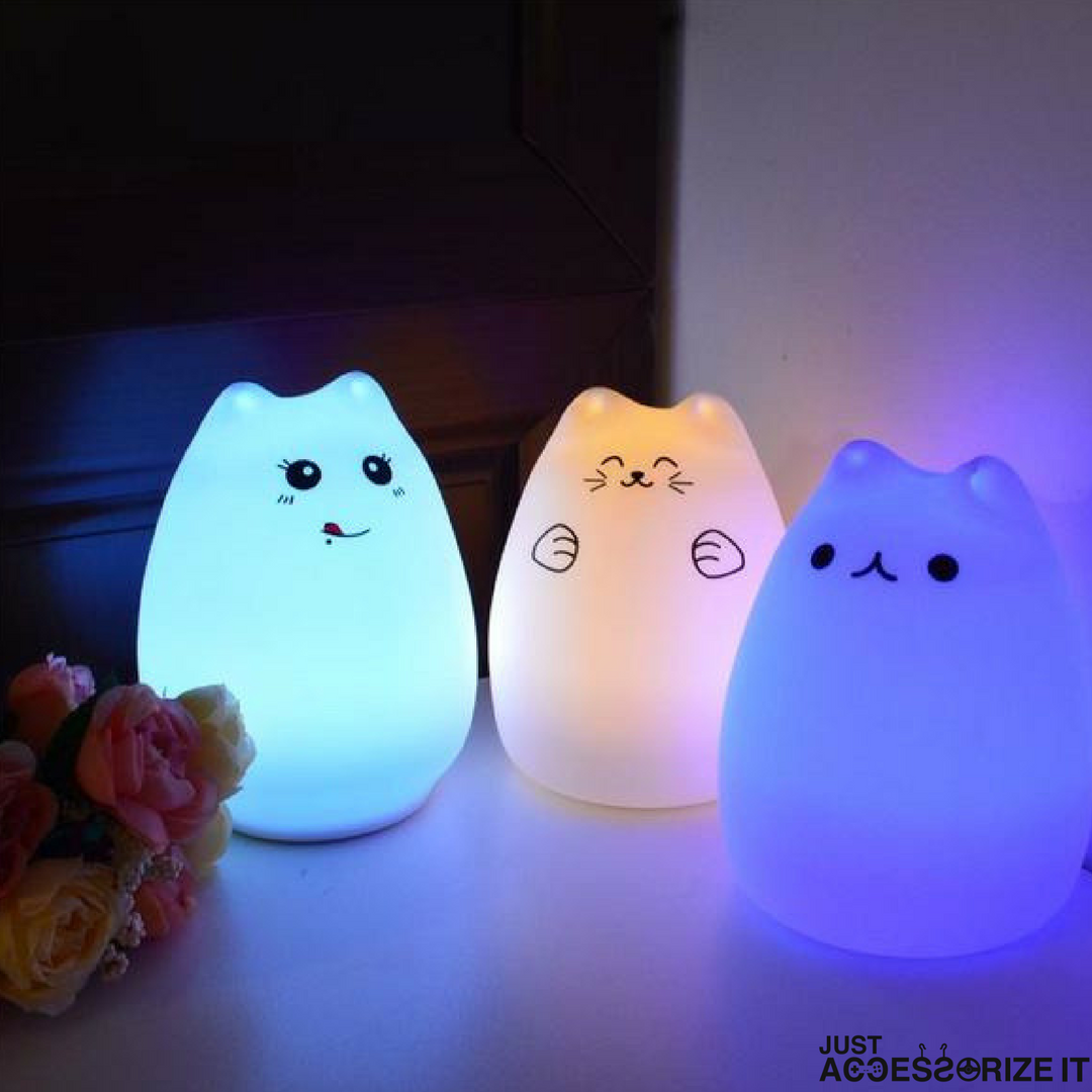 7 Colors Change Cat Silicone Soft Led Night Light Touch Control Color Changing Kids Room Light Bedroom Led-lights-decoration Lights & Lighting Led Lamps