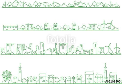 町並みイラスト線画一筆書きひと筆書き デザイン In 2019