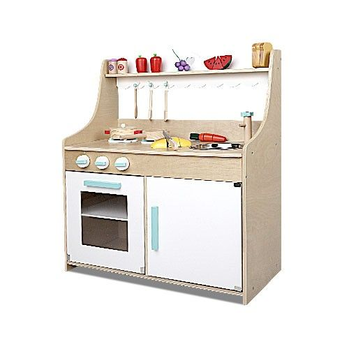 Wooden Childs Kitchen W 15pc Cookware Food Set Children Kids