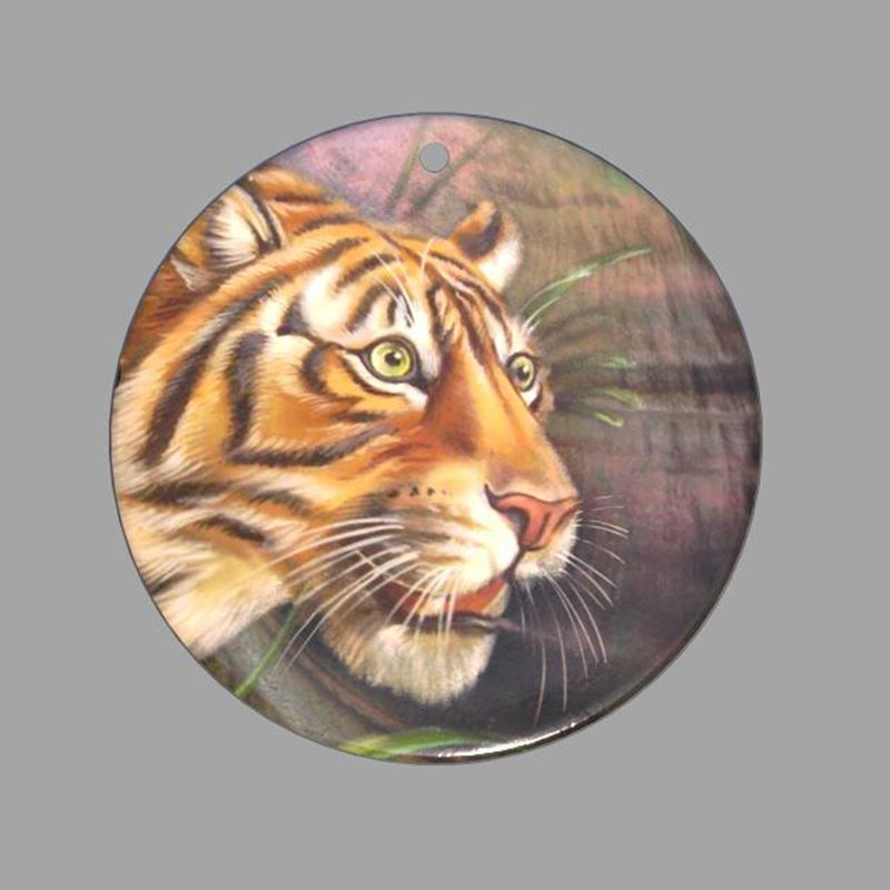 HAND PAINTED TIGER NATURAL MOTHER OF PEARL SHELL NECKLACE PENDANT ZP30 00529 #ZL #PENDANT