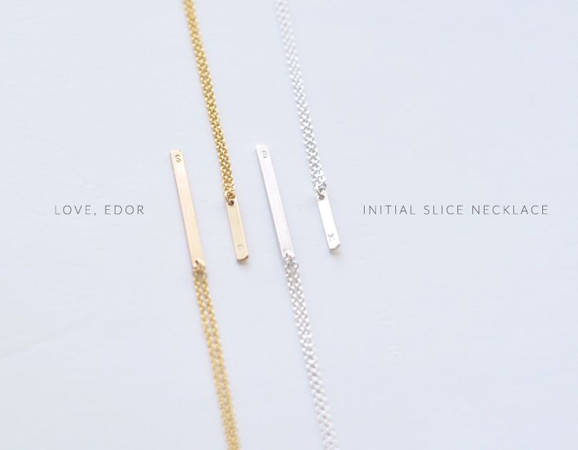 Initial Slice necklaces - tiny, subtle engraving on sleek bars - http://bit.ly/1mFeakG loveedor.com