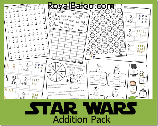 Star Wars Addition Packs Royal Baloo Star Wars Classroom Star Wars Activities Math Activities For Kids